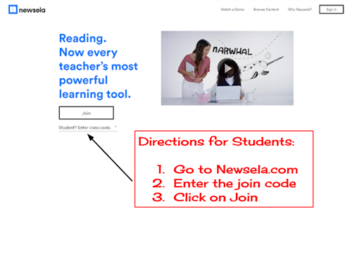 Newsela join instructions for students